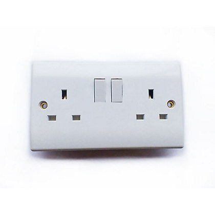 Double Switched Socket White