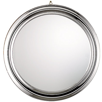 chrome plated round mirror. Black Bedroom Furniture Sets. Home Design Ideas