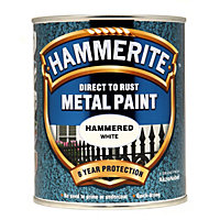 Hammerite Direct To Rust Hammered White Metal Paint - 750ml
