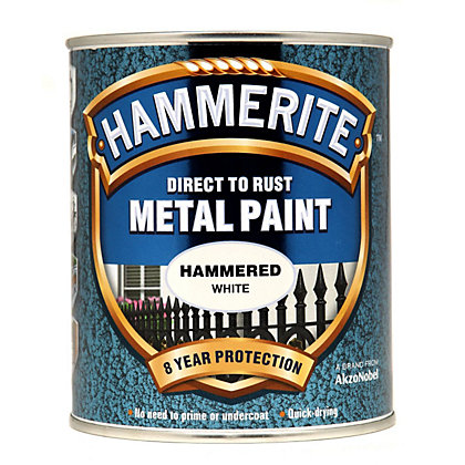 Image for Hammerite Direct To Rust Hammered White Metal Paint - 750ml from StoreName