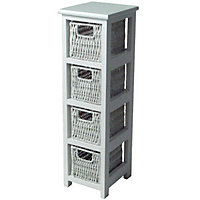 Slim 4-Drawer Storage Unit - White