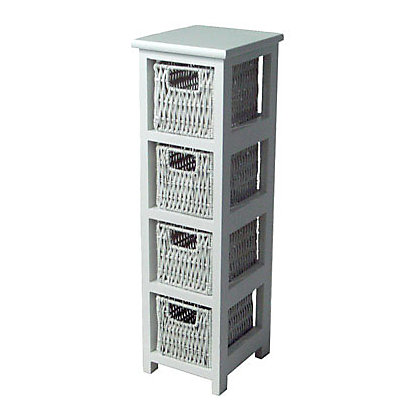 Image for Slim 4-Drawer Storage Unit - White from StoreName