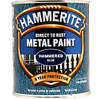 Hammerite Direct To Rust Hammered Blue Metal Paint - 750ml