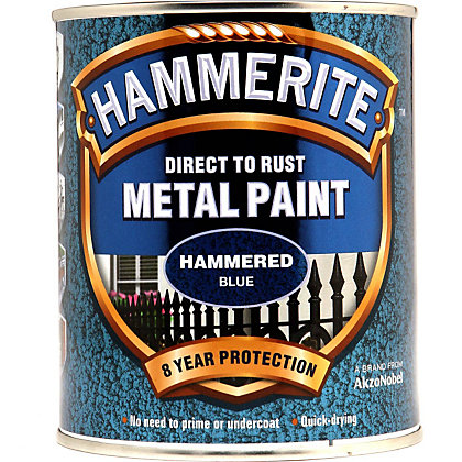 Image for Hammerite Direct To Rust Hammered Blue Metal Paint - 750ml from StoreName