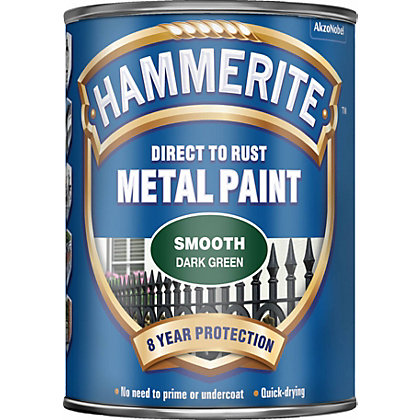 Image for Hammerite Direct To Rust Smooth Dark Green Metal Paint - 750ml from StoreName