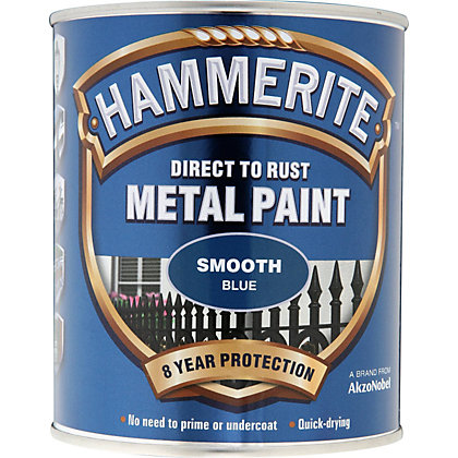 Image for Hammerite Direct To Rust Smooth Blue Metal Paint - 750ml from StoreName