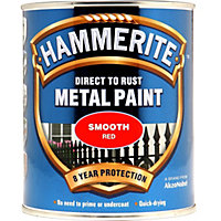 Hammerite Direct To Rust Smooth Red Metal Paint - 750ml