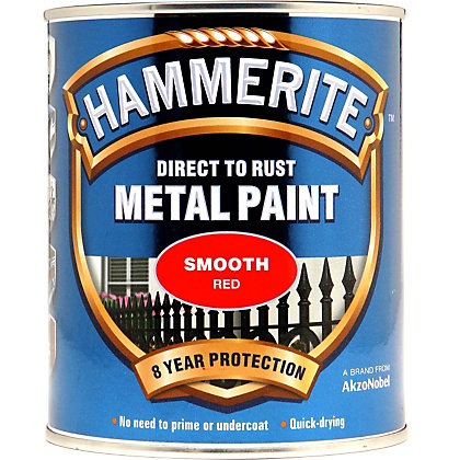 Image for Hammerite Direct To Rust Smooth Red Metal Paint - 750ml from StoreName