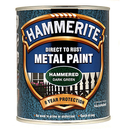 Image for Hammerite Direct To Rust Hammered Dark Green Metal Paint - 750ml from StoreName