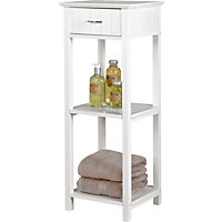 Two Tier Shelf Unit and Drawer - White