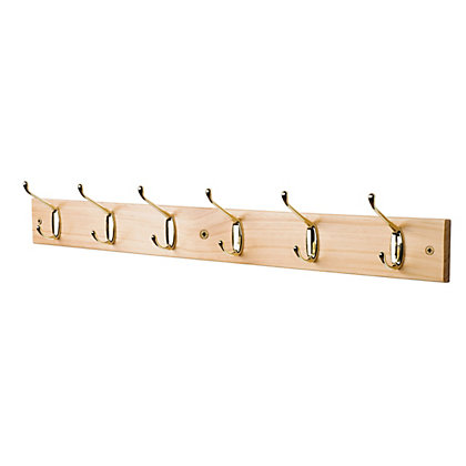 Image for Standard Hat and Coat Hook - Polished Brass - 6 Hooks from StoreName