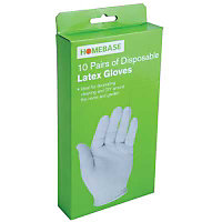 Homebase Value Disposable Latex Gloves - 10 pack