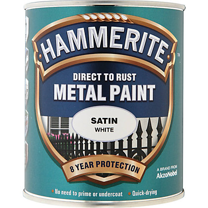 Image for Hammerite Direct To Rust Satin White Metal Paint - 750ml from StoreName
