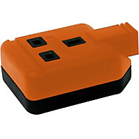 Heavy Duty Rewireable Double Socket - Orange