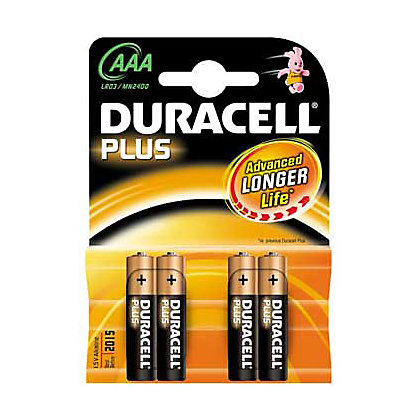 Image for Duracell Plus AAA Batteries - 4 Pack from StoreName