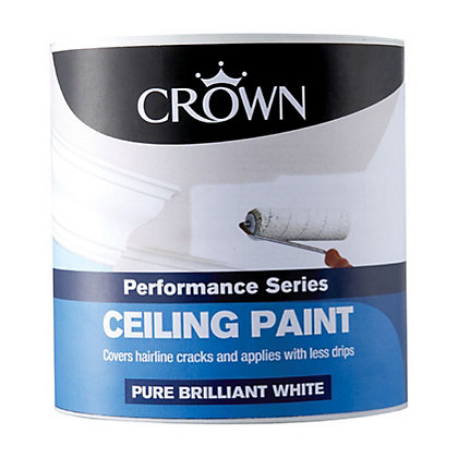 Crown Pure Brilliant White Silk Ceiling Paint 2 5l