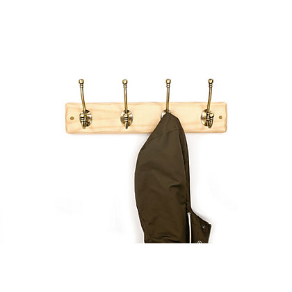 Image for Rustic Pine Hat and Coat Rail - Antique Brass - 4 Hooks from StoreName