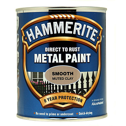 Image for Hammerite Direct To Rust Smooth Muted Clay Metal Paint - 750ml from StoreName