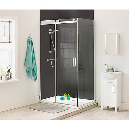 Image for Aqualux Diamond Slider Shower Enclosure - 1200 x 800mm - Silver from StoreName