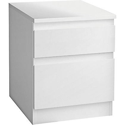 Image for Hygena Harpur High Gloss Bedside Cabinet - White from StoreName