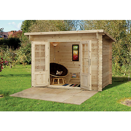 Image for Forest Harwood Pent Roof Log Cabin - 9ft 10in x 6ft 6in from StoreName