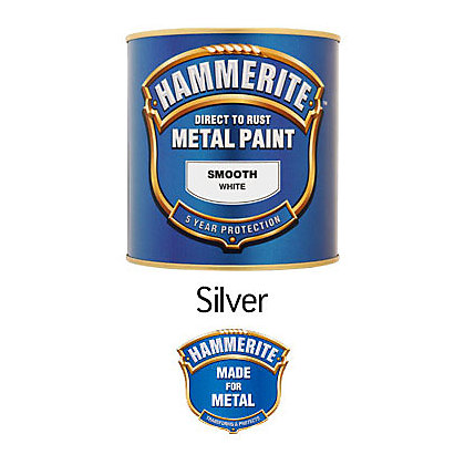 Hammerite Silver Exterior Smooth Metal Paint 250ml