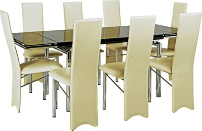 hygena savannah glass extendable dining table and 6 chairs search