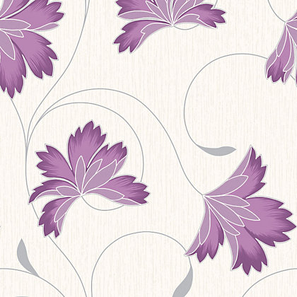 Image for Crown Flourish Vinyl Wall Covering - Plum from StoreName
