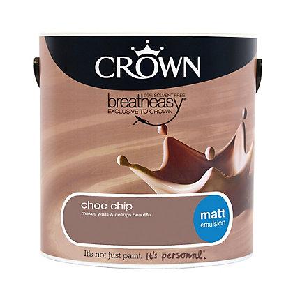 Image for Crown Breatheasy Chocolate Chip - Matt Emulsion Paint - 2.5L from StoreName