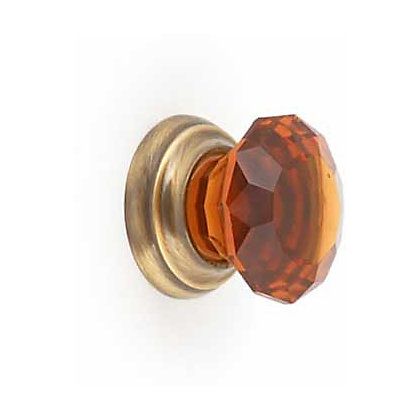 Image for Amber Glass and Antique Brass Cabinet Door Knob - 32mm from StoreName