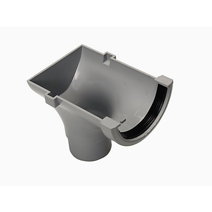 Image for 76mm Half Round Stopend Outlet - Grey - 100 x 90 x 225mm from StoreName