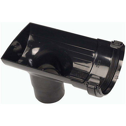 Image for 112mm Half Round Stopend Outlet - Black - 130 x 135 x 210mm from StoreName