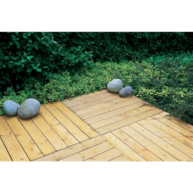 Sale on patio deck tile 90 x 90cm forest garden now for Garden decking for sale