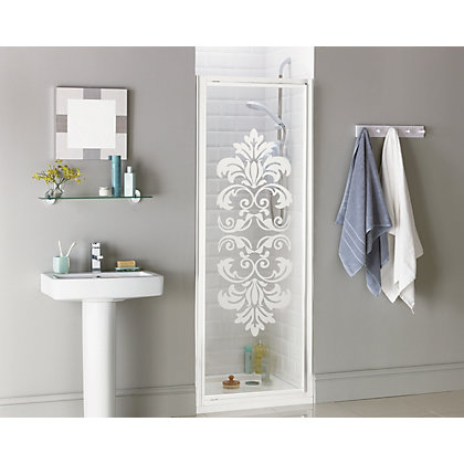 Image for Aqualux Crystal Pivot Recess Shower Enclosure - 760 x 1850mm - White Damask from StoreName
