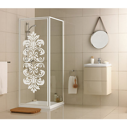 Image for Aqualux Crystal Pivot Shower Enclosure - 760 x 760mm - White Damask from StoreName