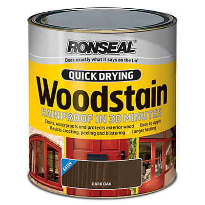 Image for Ronseal Quick Drying Woodstain Satin Dark Oak - 750ml from StoreName