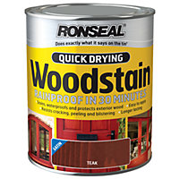 Ronseal Quick Drying Woodstain Satin Teak - 750ml