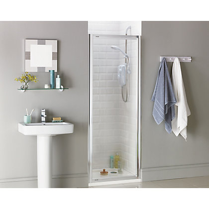 Image for Aqualux Crystal Pivot Recess Shower Enclosure - 760mm - Silver from StoreName