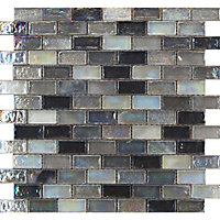 Quartz Silver Hammered Mosaic Tiles - 300 x 300mm