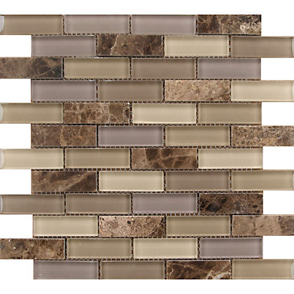 Image for Beige Marble and Glass Mosaic  Wall Tile - 300 x 300mm from StoreName