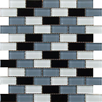 Emerald Black and White Brick Mosaic Tiles - 300 x 300mm