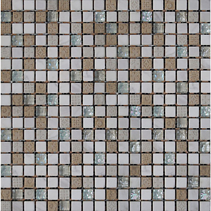 Image for White Marble and Glass Mosaic Tiles - 300 x 300mm from StoreName