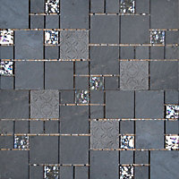 Black Marble and Glass Modular Mosaic Tiles - 300 x 300mm