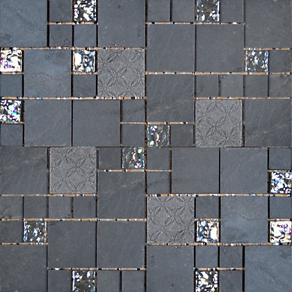 Image for Black Marble and Glass Modular Mosaic Tiles - 300 x 300mm from StoreName