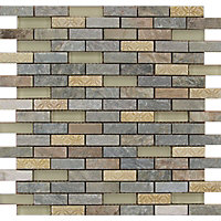 Quartz Stone and Glass Brick Mosaic Tiles - 305 x 305mm