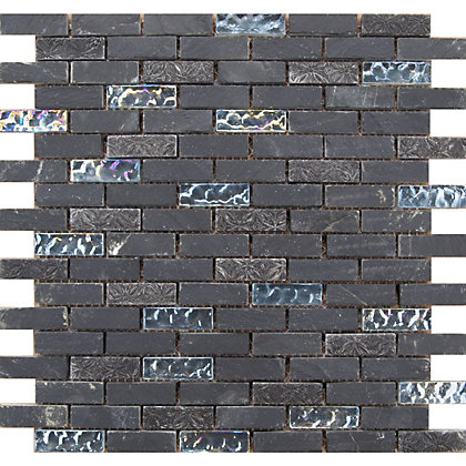 Image for Black Marble and Glass Brick Mosaic Tiles - 305 x 305mm from StoreName