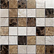 Emperador Large Polished Marble Mix Mosaic Tiles - 305 x 305mm