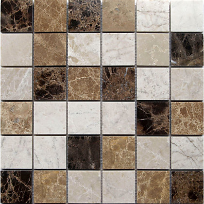 Image for Emperador Large Polished Marble Mix Mosaic Tiles - 305 x 305mm from StoreName
