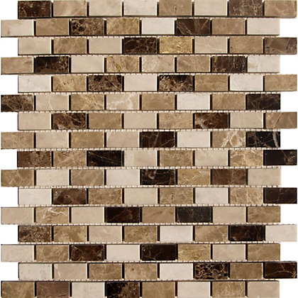 Image for Emperador Polished Marble Brick Mix Mosaic Tiles - 275 x 275 from StoreName