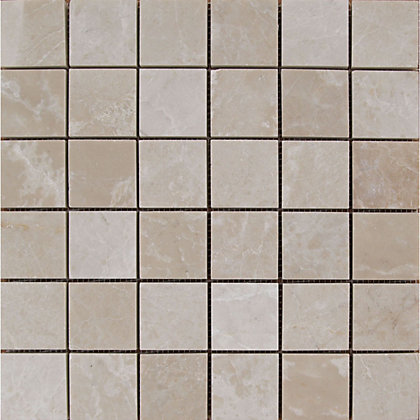 Image for Polished Marble Mosaic Tiles - Cream - 305 x 305mm from StoreName